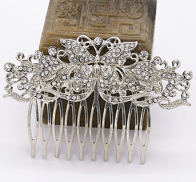 Wedding Bridal Bridesmaid Prom Party Silver Crystal Butterfly Hair Comb Tiara