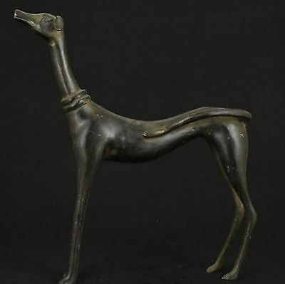 Big Nice Chinese Old Bronze Collectable Handwork Carved Dog Statue Figure