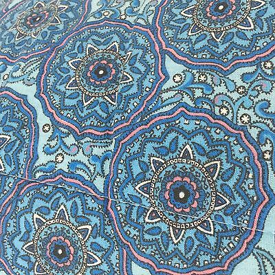 VINTAGE FUN Bright Blue Floral Quilt Comforter EXCELLENT Cond Paisley FUN Kids