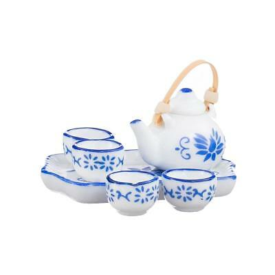 Dolls House Miniature Cinese Floral Gongfu Cha Tea Cup Teiera in ceramica