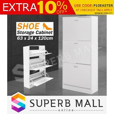Wooden Shoe Storage Organization Cabinet Chest with 3 Racks Max.18 Pairs White