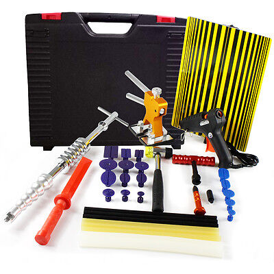 Auto PDR Car Kit Paintless Dent Puller Hail Rods-Removal Tool-Repair Hook+Wrench