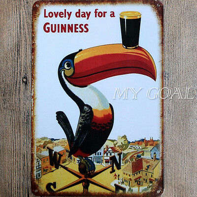 Vintage Shabby-Chic Guinness Metal Tin Sign Wall Plaque Pub Bar Tavern Garage