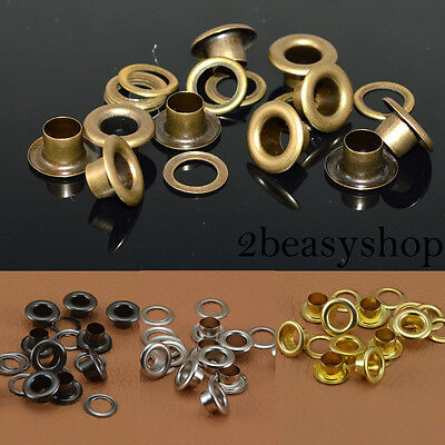 GoodQuality 100 Sets Eyelets 4/5/6/8/10mm w/Washers For Cardmaking Scrapbooking
