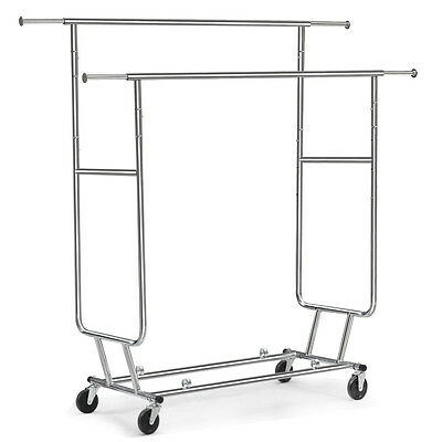 Adjustable Double Clothes Rail Hanging Garment Dress On Wheels With Shoes Rack