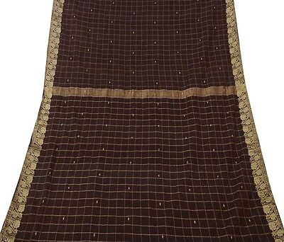 Vintage Indian Saree Pure Cotton Woven Fabric Craft Used Sarong Art Black 5YD
