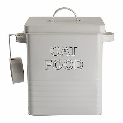 Enamel Cream Storage Tin Box Cat Food Kitchen Retro Container Jar Lid