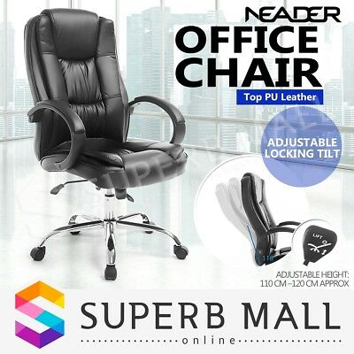 PU Leather Office Chair Computer High Back Executive Seat Swivel w/Locking Tilt