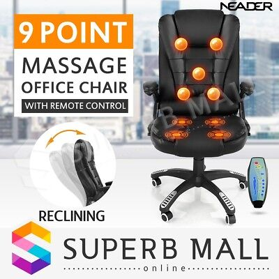 9 Point Ergonomic Massage Office Computer Chair PU Leather Executive Recliner BK