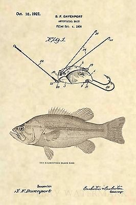 Official Fishing Lure US Patent Art Print- Antique Creek Chub Weed Frog Fish 374