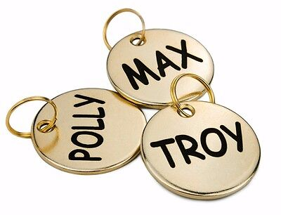 Custom Engraved Dog ID Tag Personalized Solid Brass Pet Name Single Dual Side