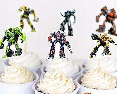 12 Pcs Transformers Cupcake Toppers Party Supplies Birthday Kids