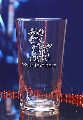 Personalised Paw Patrol Chase engraved glases Birthday,Christmas gift#150