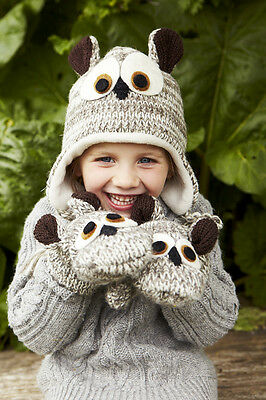 Owl Animal Hat / Mittens - HANDMADE by Pachamama - one size (3-7 years)