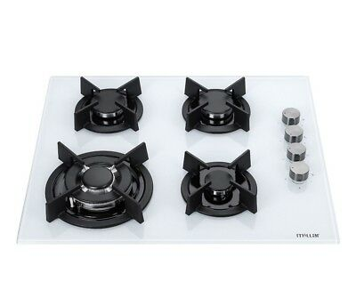 MILLAR GH6041XEW 4 Burner Built-in 60cm White Gas on Glass Hob with Wok Burner