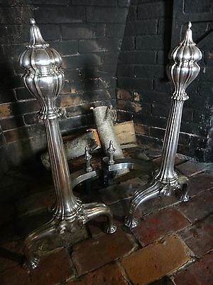 Rare Antique Andirons Silver on Brass / Bronze Victorian Fire Dogs Mid 19th Cent