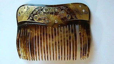 MiVintage Victorian Art Deco Style 18K Gold Inlay Rhinestone Hair Comb