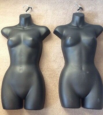 Lot of 2 Black Hanging Retail Mannequin Female Torsos Form Hook