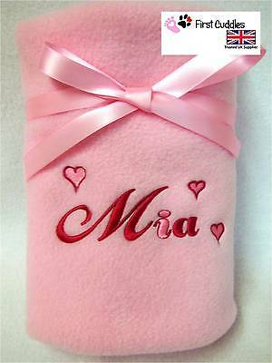 PERSONALISED BABY PRAM BLANKET with EMBROIDERED HEARTS AND YOUR BABY'S NAME