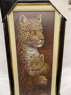 Leopard Mother & Child Wild Cats Framed Picture New in Original Packing 23x11 In