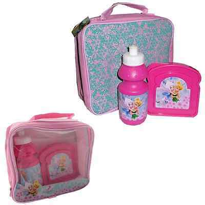 Insulated Raised Front Lunch Bag, Snack Box and Bottle set - DISNEY FAIRIES