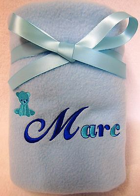 PERSONALISED BABY PRAM BLANKET with EMBROIDERED TEDDY BEAR AND YOUR BABY'S NAME