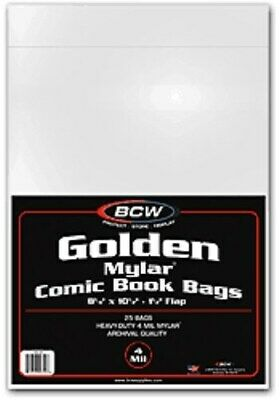 75 BCW Golden Age Comic Book Mylar Bags 4-Mil 8.25x10.5 Acid Free mylars sleeves