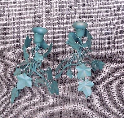 Home Interior Set of 2 Green with a Hint of Gold Leaf Tabletop Sconce's