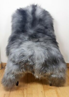 XL Large Natural Grey/Ivory/Black Genuine Icelandic Sheepskin Real Fur Rug BN