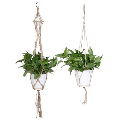 Pot Holder Hanging Basket Handcrafted Braided Macrame Cord Rope Plant Hanger #S2