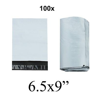 100 Strong Premium Quality White Polythene Poly Postage Mailing Bags 6.5x9 UK
