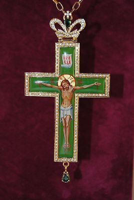 Orthodox Green Cross Gold Plated Engolpion Pendant Zircon Enamel Clergy Bishop