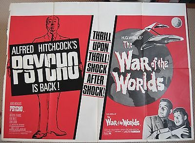 Psycho/War of the Worlds, Original UK Quad Poster, Hitchcock /H.G Wells '70