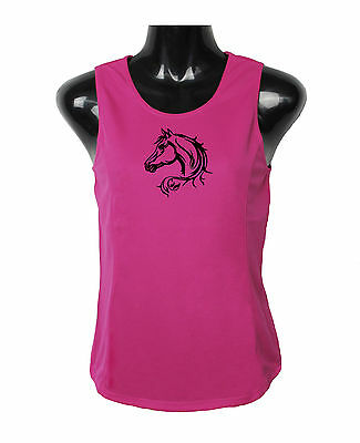 Horse Singlet Top Horse Head With Scrolls Brand New Moisture Wicking Fabric