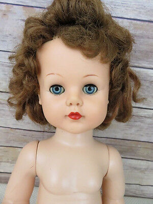 "VTG 50s Ideal Brunette 23"" doll jointed sleepy blue eyes no clothing curly hair"