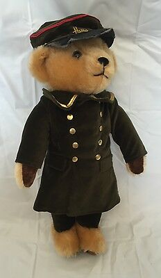 "Vintage Harrods By Merrythought Britain Doorman Velvet Mohair 17"" Stuffed Bear"