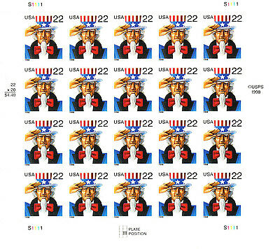 Uncle Sam Stamp Sheet -- Usa #3259 22 Cent  1993