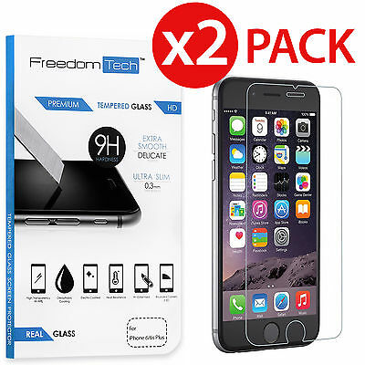 2x New Premium Real Tempered Glass Film Screen Protector for Apple iPhone 6 Plus