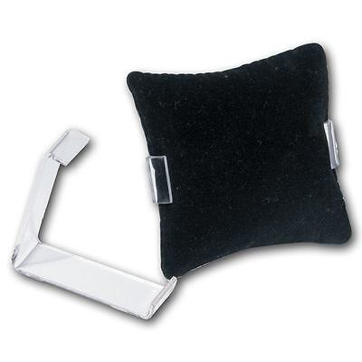 "1 Black Velvet Pillow 3"" x 3"" Bracelet Watch Display with 2 1/4"" Acrylic Holder"