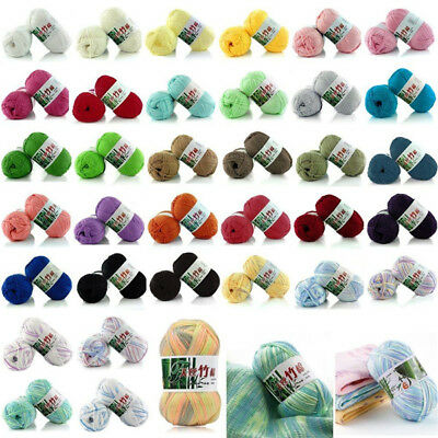 Sale 1 Skein x 50g Super Soft Bamboo Cotton Baby Hand Knitting Crochet Yarn MX