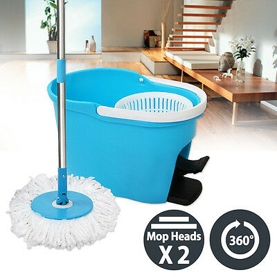 NEW 360 Degree Spin Mop & Spin Dry Stainless Steel Bucket Clean w/ 2 Mop Heads