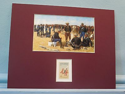 """A Cavalryman's Breakfast on the Plains""   by Frederic Remington & his stamp"