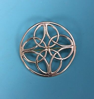 Beautiful Bronze Vintage Gold Inspired Five Fold Celtic Knot Brooch Pin