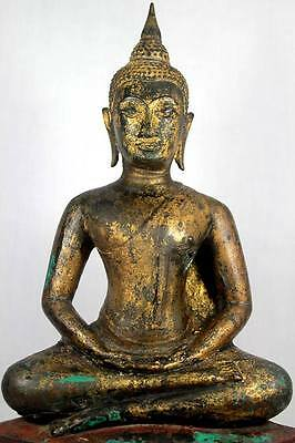 Magnificent Antique Gilt Bronze Buddha  Ayutthaya 17th C Meditation Masterpiece