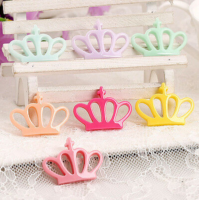 30pcs Mixed Colors Crown Resin Flatback Hair Accessories DIY Craft Decoration