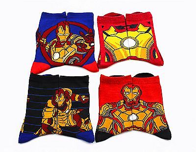 4 Pair Boys Children Kids Iron man ironman super hero shoes Socks 4-8years