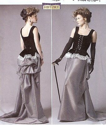 PATTERN for Steampunk Turn of the Century Butterick 5969 Historical dress 6-22