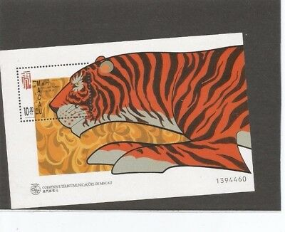 Mint 1998 Macau Tiger New Year Lunar Year Of The Tiger Mini Sheet Muh