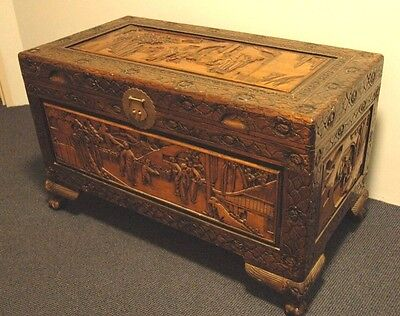 Old Chinese Camphor Chest with Carved Legs …beautiful patina & lots of detail