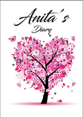 2018 diary personalised pink tree A5